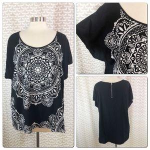 Style & Co Mandala Bali Print Zipper Dolman Shirt